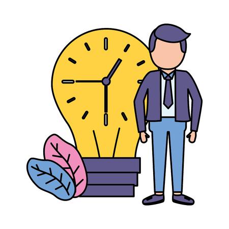 businessman clock in bulb time vector illustration vector illustration