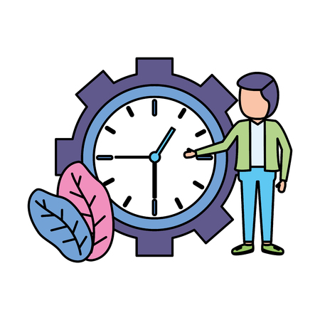 businessman clock time work design vector illustration vector illustration Illustration