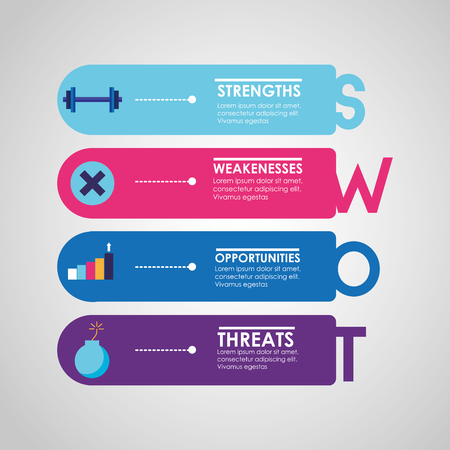 swot infographic analysis, colors graphic stats vector illustration Stock Vector - 124299635