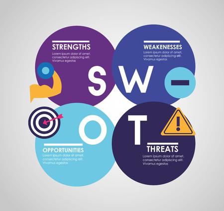 Swot-Infografik-Analyse, Farben-Grafik-Statistik-Vektor-Illustration