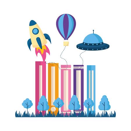 books trees rocket ufo imagination vector illustration Ilustrace