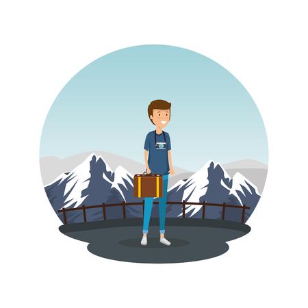 Hombre turista con diseño de ilustración de vector de personaje de maleta