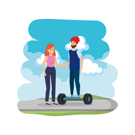 young couple in hoverboard electric on road vector illustration design