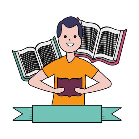 man reading books literature - my hobby vector illustration Illustration