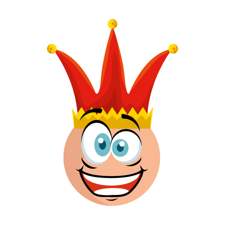 crazy emoticon face with jester hat fools day vector illustration design