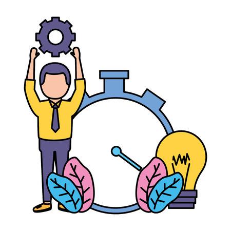 businessman gear and clock time work vector illustration vector illustration Иллюстрация
