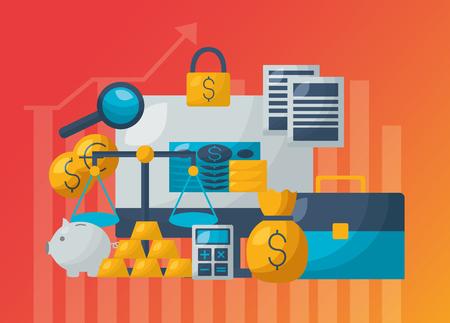 Ilustración de vector de mercado de valores financiero de economía de comercio de negocios