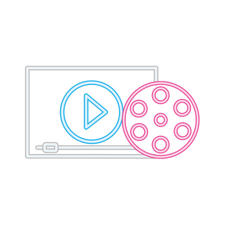 reel screen cinema movie neon on white background vector illustration