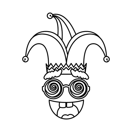 jester hat with glasses and smile fools day icon vector illustration design Stock Vector - 119137579