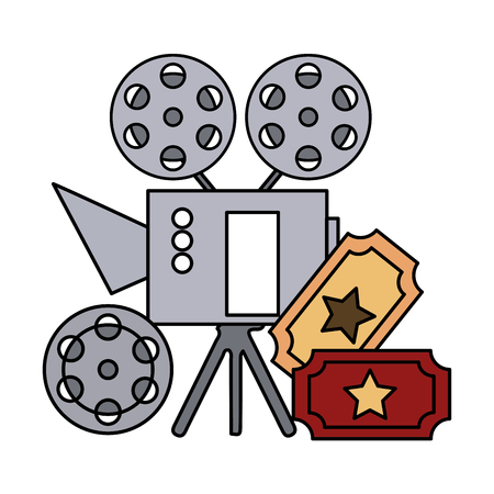 cinema projector and ticket isolated icon vector illustration design