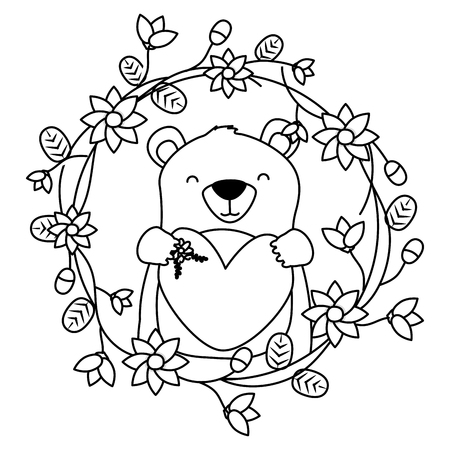 bear heart flowers wreath floral vector illustration Stock Illustratie