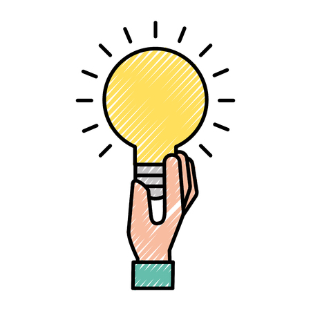hand holding bulb idea creativity symbol vector illustration 矢量图像