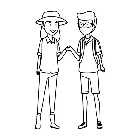 tourist couple avatars characters vector illustration design