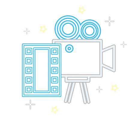 projector strip cinema movie neon on white background vector illustration