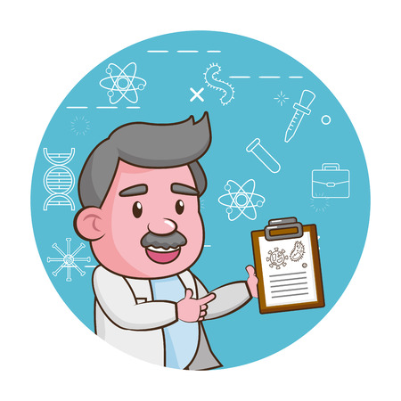 professor science clipboard blue background vector illustration