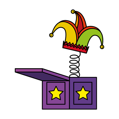 jester hat in surprise box fools day icon vector illustration design Illustration