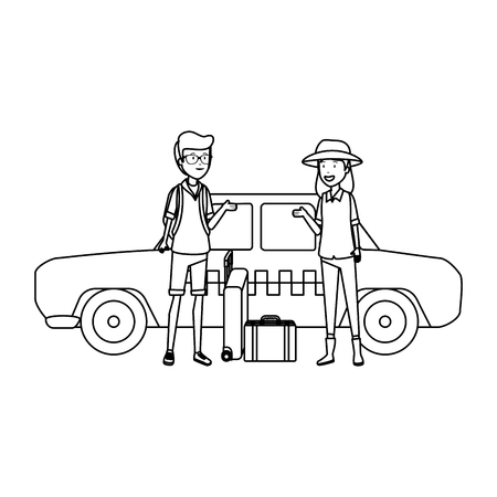 tourist couple with suitcases in taxi characters vector illustration design Standard-Bild - 124302031