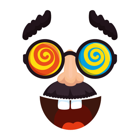 fools day mask glasses and mustache with smile vector illustration design Vektoros illusztráció