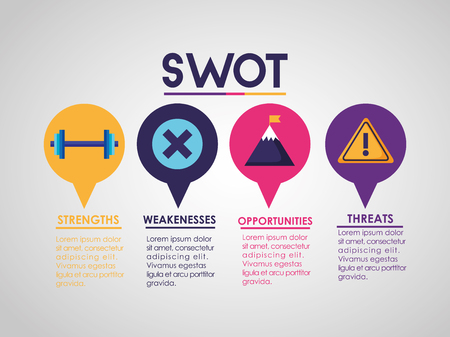 swot infographic analysis, colors graphic stats vector illustration Banco de Imagens - 119144527