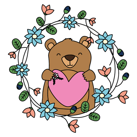 bear heart flowers wreath floral vector illustration Çizim