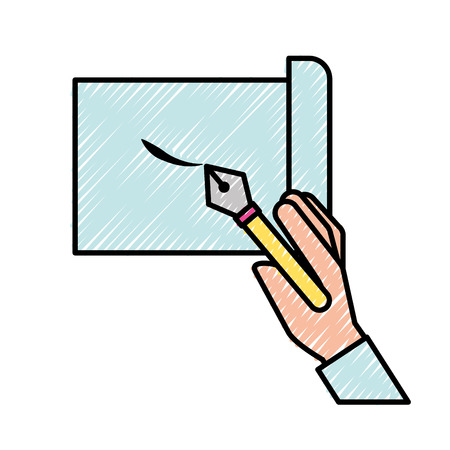 hand holding fountain pen drawn on sheet vector illustration