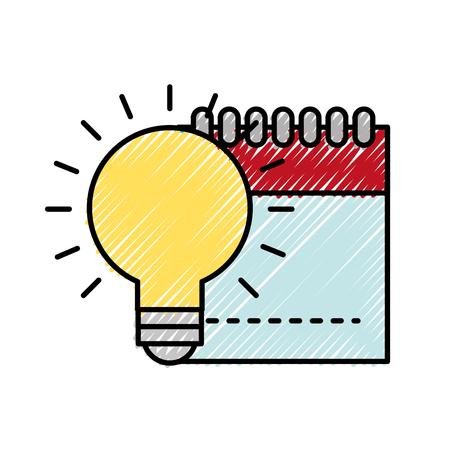 graphic design notepad and bulb idea creativity vector illustration