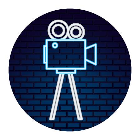 kamera wideo ze światłem neonowej ikony ikona wektor ilustracja projektu