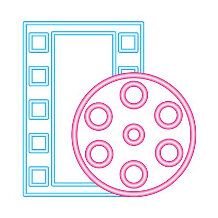 strip film reel cinema movie neon on white background vector illustration Illustration