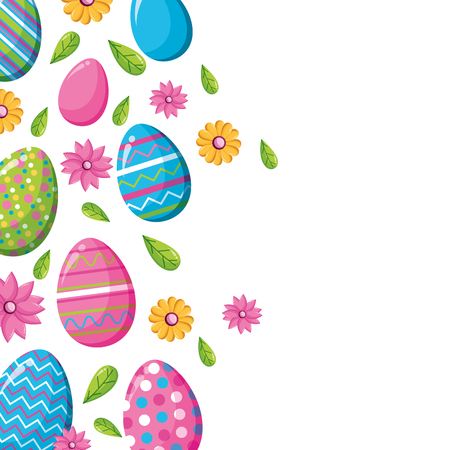 happy easter falling eggs decoration flowers vector illustration