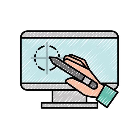 hand holding digital pen computer graphic design vector illustration