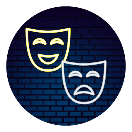 theater mask with light of neon icon vector illustration design