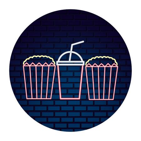 popcorn and soda with light of neon icon vector illustration design Ilustração