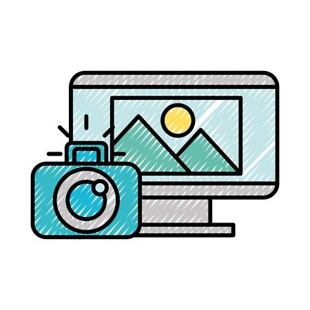computer screen photographic camera photo vector illustration 版權商用圖片 - 124280078