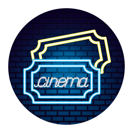 tickets coupons movie time neon vector illustration vector illustration