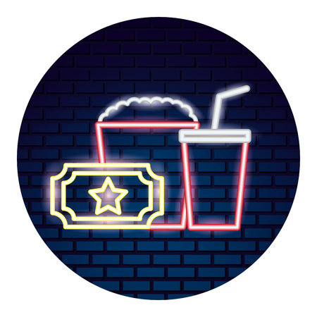 set of movie objects a neon vector illustration design