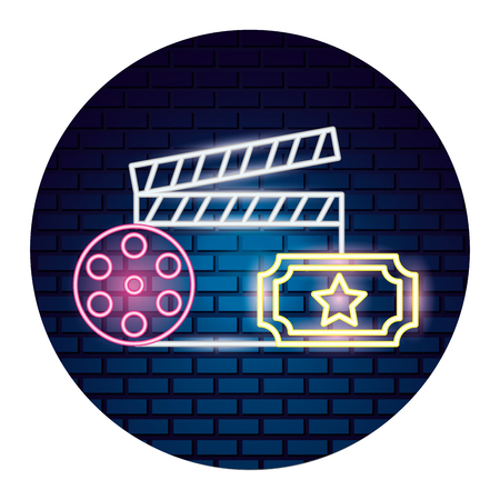 clapboard reel ticket movie time neon vector illustration vector illustration