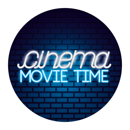 lettering cinema movie time neon vector illustration