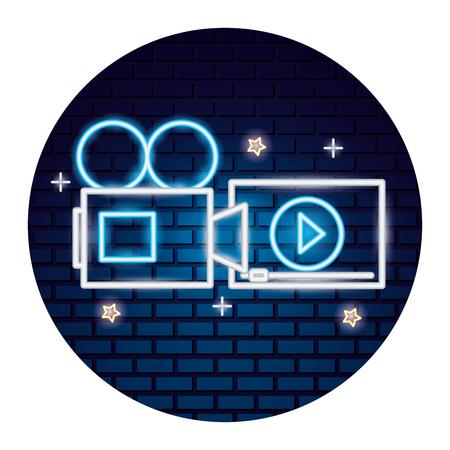 projector screen cinema movie time neon vector illustration vector illustration Stok Fotoğraf - 124280158