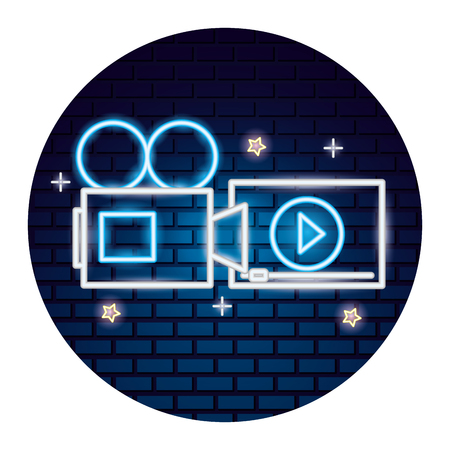 projector screen cinema movie time neon vector illustration vector illustration