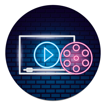 cinema reel film movie time neon vector illustration vector illustration  イラスト・ベクター素材