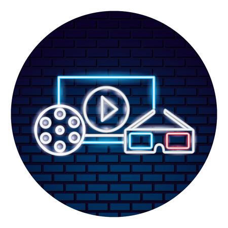 cinema neon set icons vector illustration design Illustration