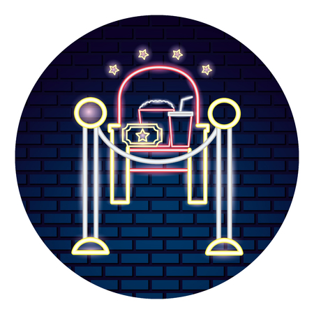 cinema neon set icons vector illustration design Ilustração