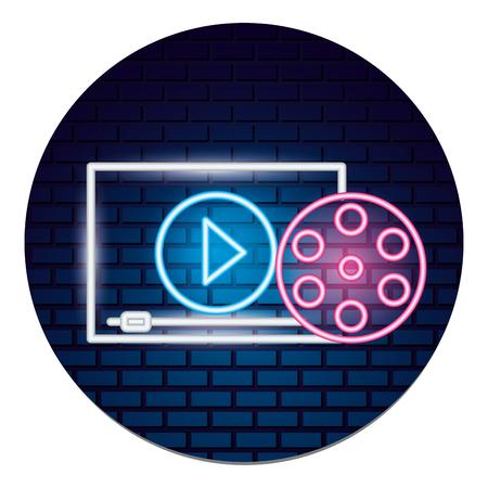 Carrete de cine, película, tiempo de película, neón, vector, ilustración, vector, ilustración