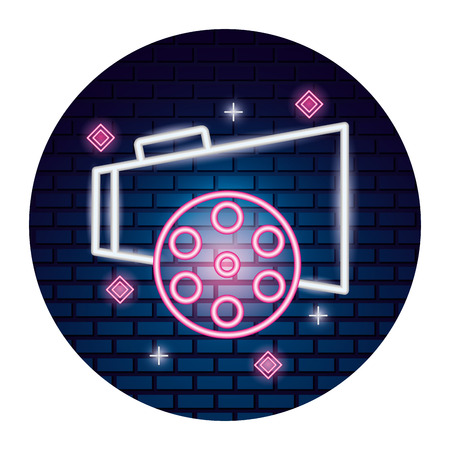 speaker and reel movie time neon vector illustration vector illustration  イラスト・ベクター素材
