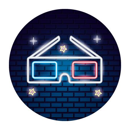 3d glasses movie time neon vector illustration vector illustration