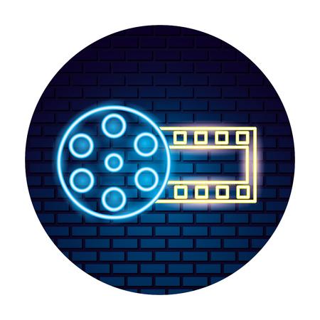 strip film reel movie time neon vector illustration vector illustration Ilustração