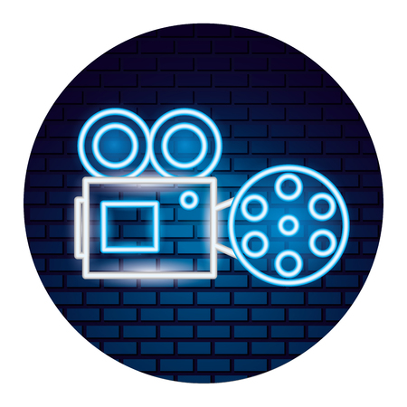 projector reel film movie time neon vector illustration vector illustration