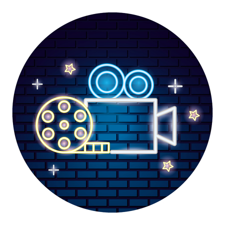 projector camera strip film movie time neon vector illustration vector illustration