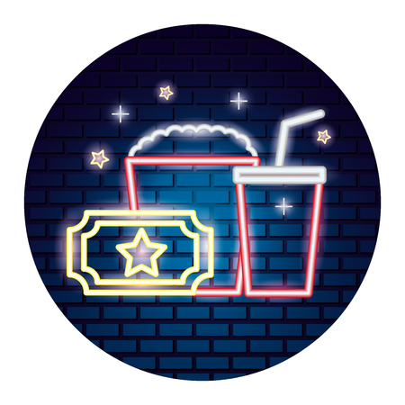 popcorn soda and ticket movie time neon vector illustration vector illustration