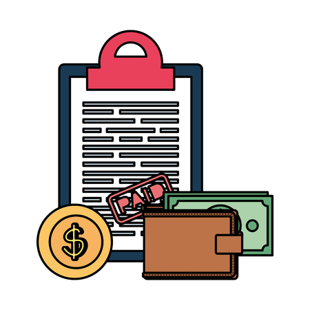 clipboard with taxes and money vector illustration design